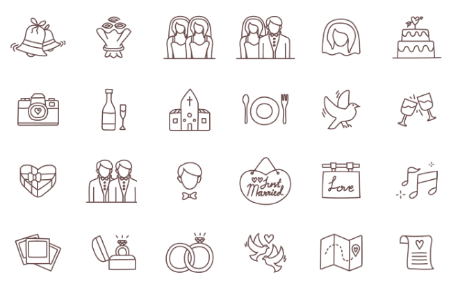24 Wedding icons outlines freebie set