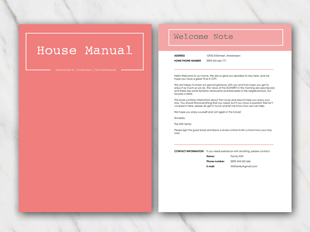 Cover and second page of house manual Airbnb with coral red cover