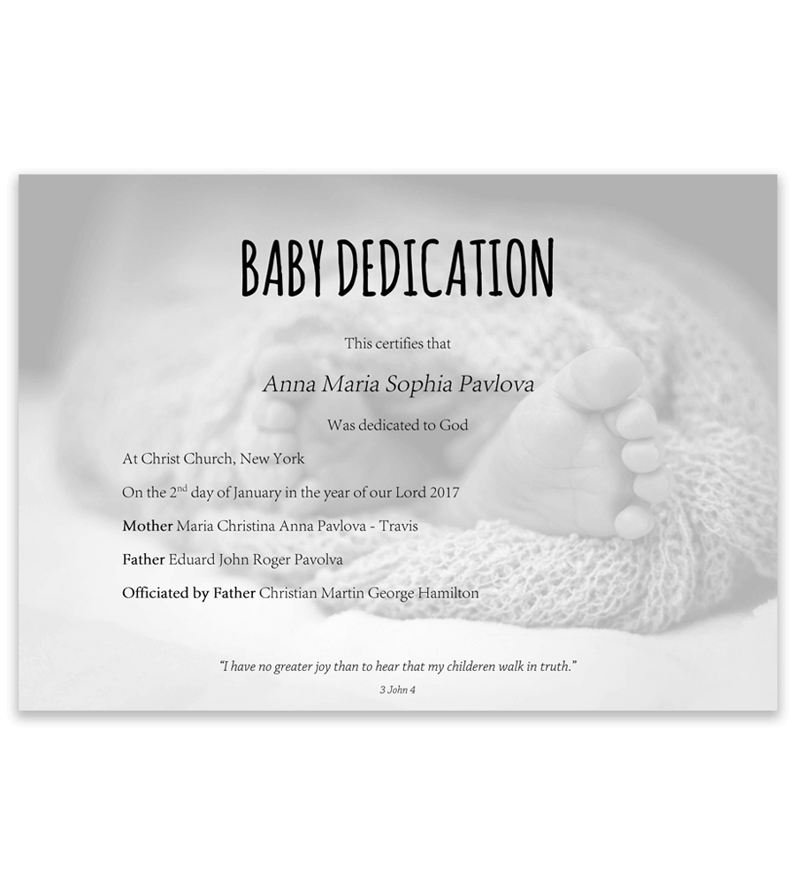 baby dedication certificate with baby feet in blanket on background - Baby Christening Certificate Template