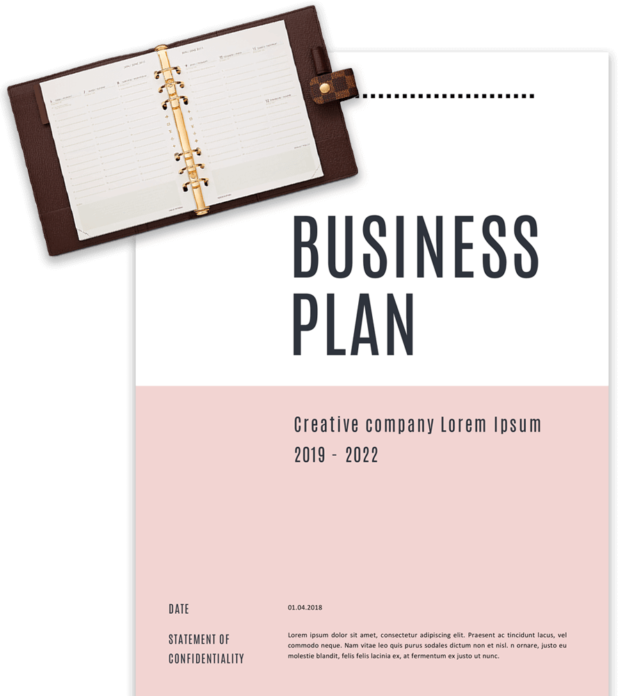 Cover page of business plan template with agenda