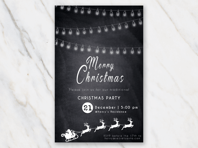 Printable Christmas Party invitation template chalkboard with lights