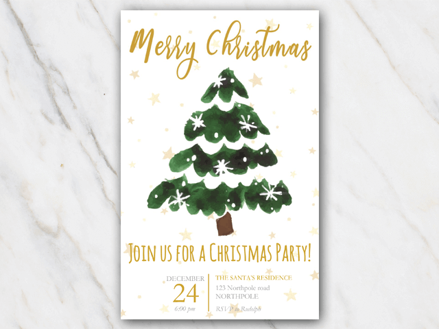 Printable Christmas invitation christmas tree and stars