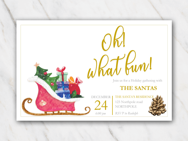 Christmas invitation sleigh and pine cone