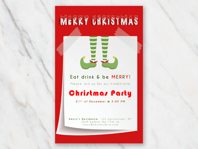Christmis invitation with Christmas elf boots
