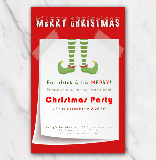Christmis invitation elf boots