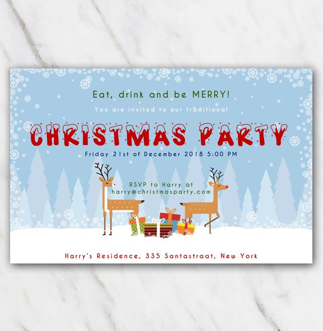 Printable Christmis invitation reindeer in snow