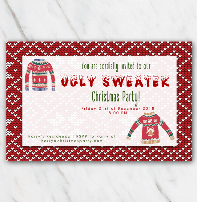 Christmas invitation ugly sweater