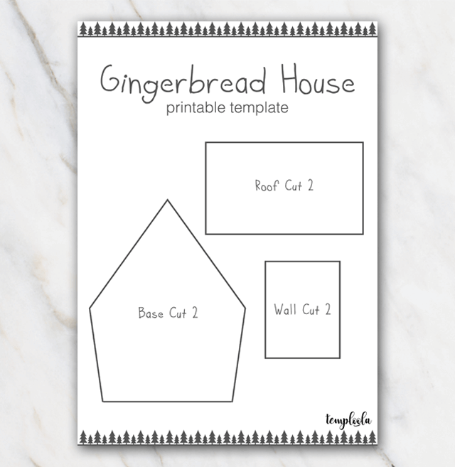 photo about Printable Gingerbread House Template called Printable gingerbread household template with christmastrees