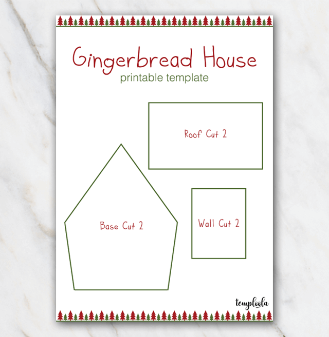 Example of easy gingerbread house template in red and green