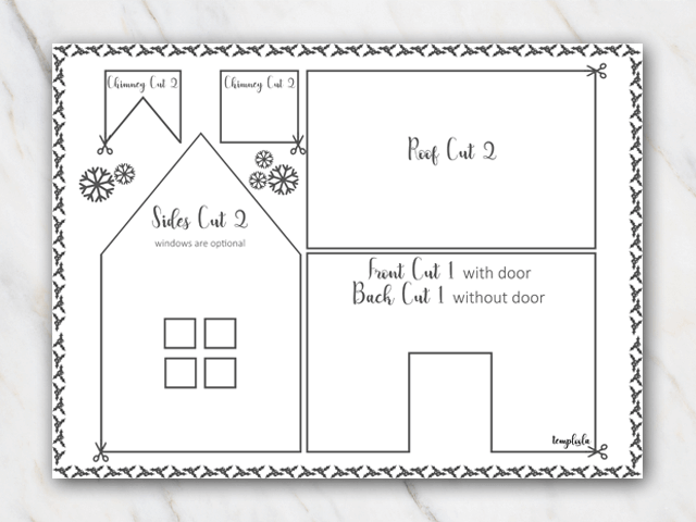 Gingerbread house template with chimney in black and white
