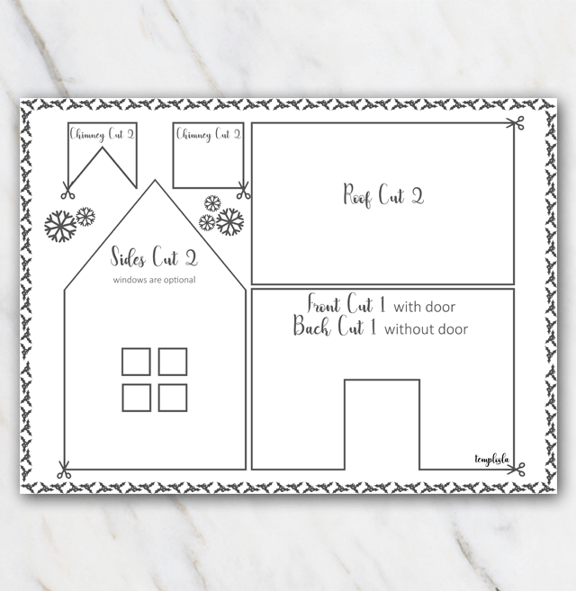 Printable Gingerbread House Template Black And White