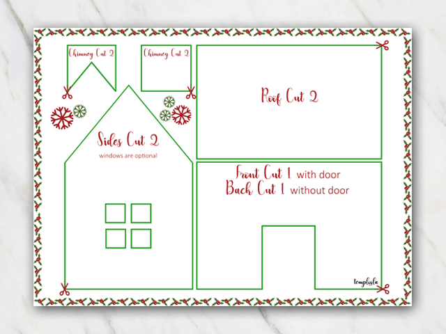 Template of a gingerbread house with chimney