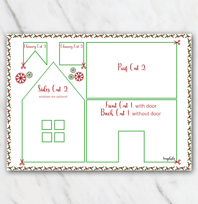 Gingerbread house template red and green with snowflakes