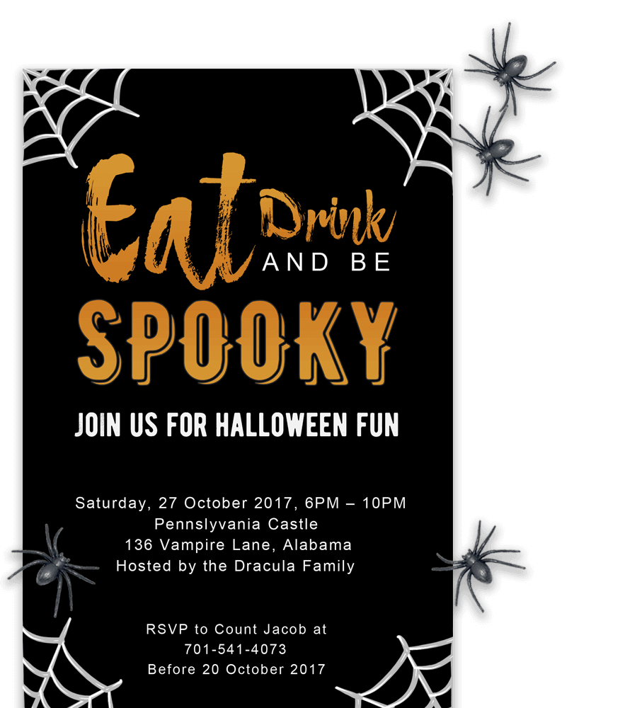 example of halloween invitation in word with spiders - Free Halloween Templates