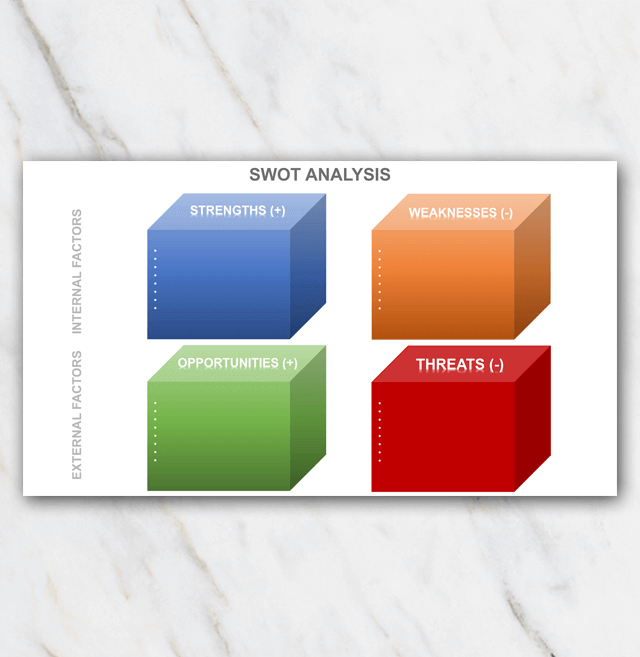 SWOT analysis - 3D in PowerPoint