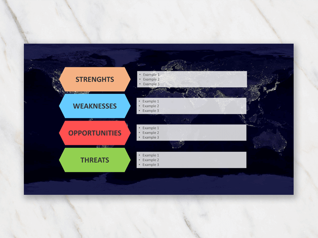 SWOT analysis template in Powerpoint with world map in background and different blocks to write in