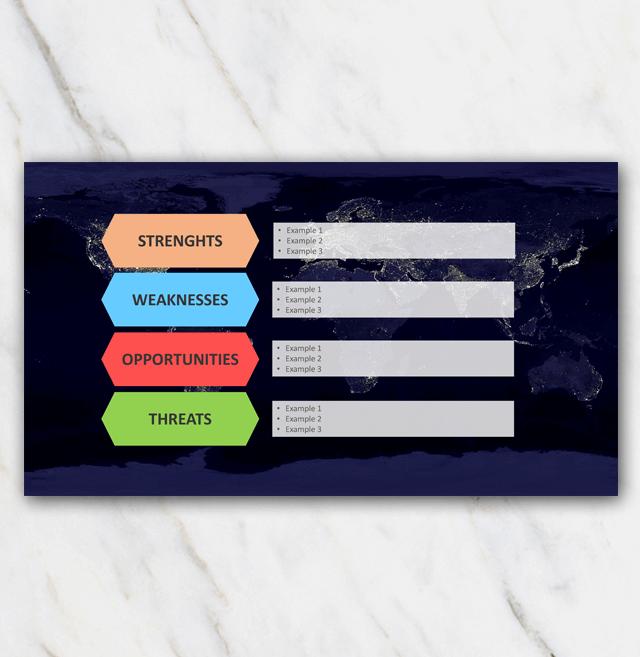 SWOT analysis - world map - blocks