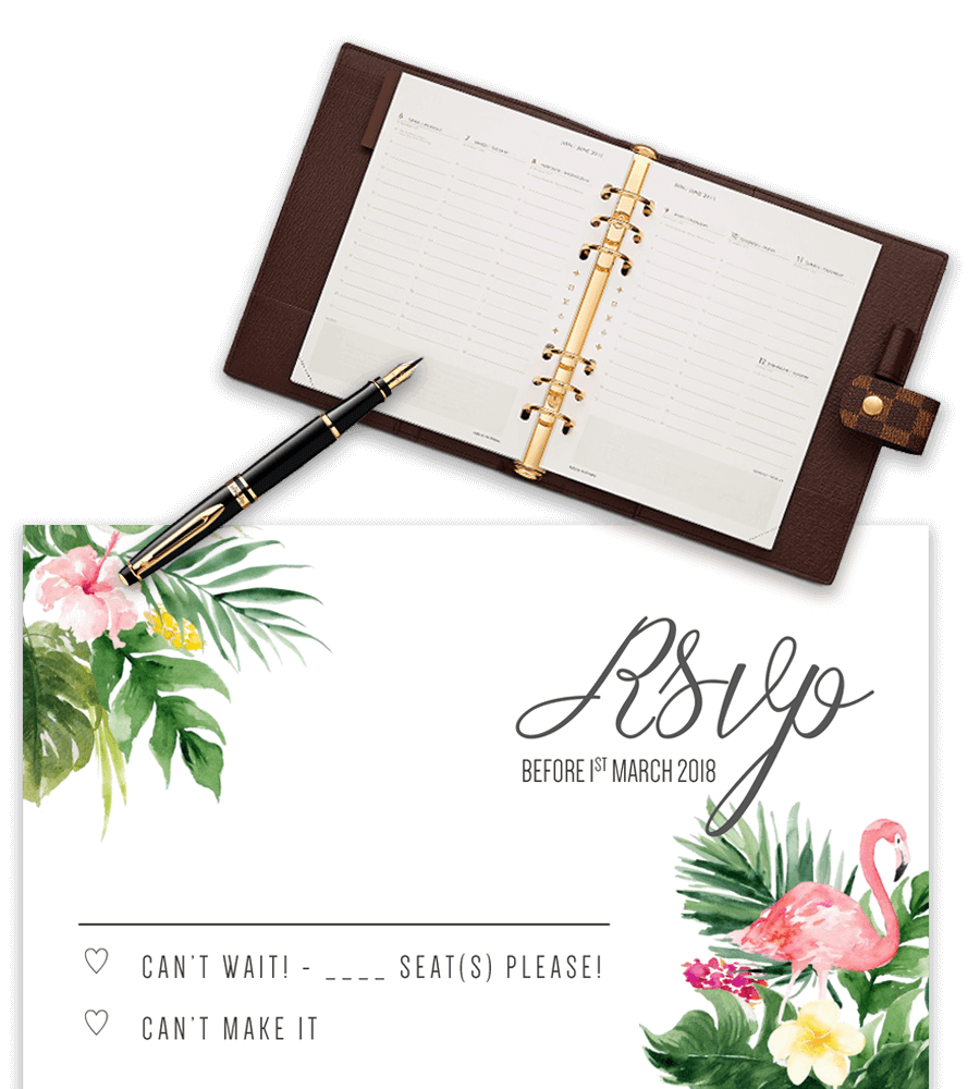 Example Of Wedding Rsvp Template With Flamingo And Agenda Prop
