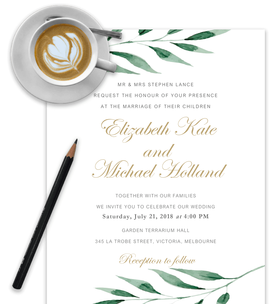 example of wedding invitation template in word with olive brach and cappuccino