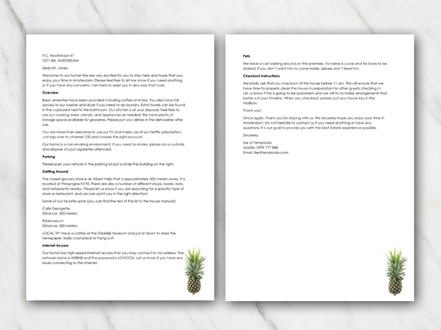 Welcome letter Airbnb frontpage and second page