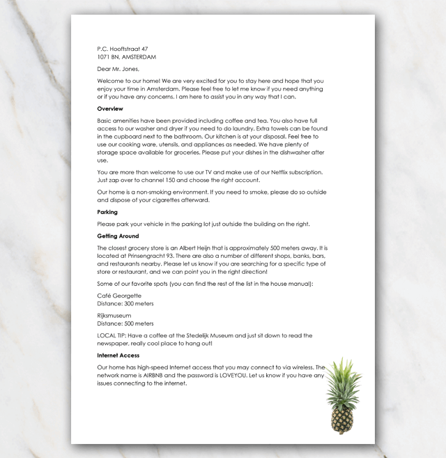 Welcome letter Airbnb front page