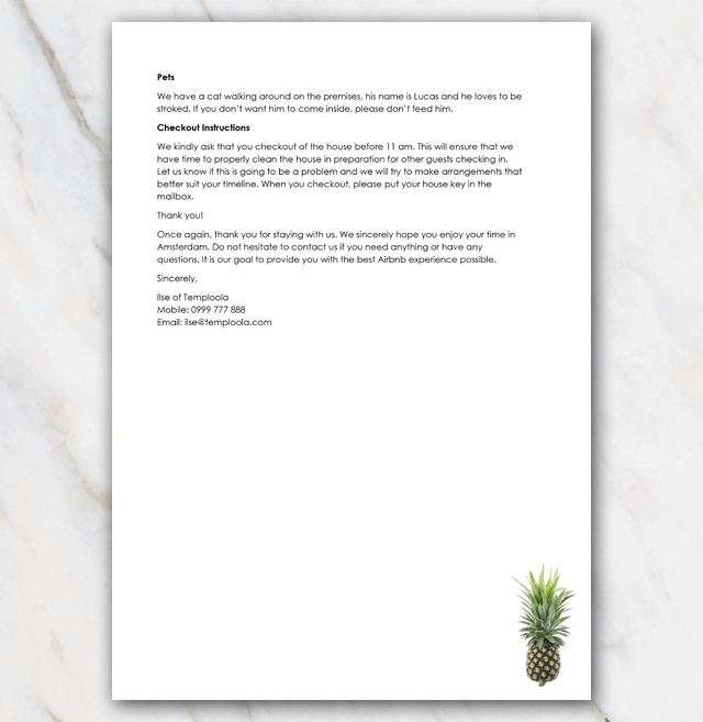 Welcome letter Airbnb second page