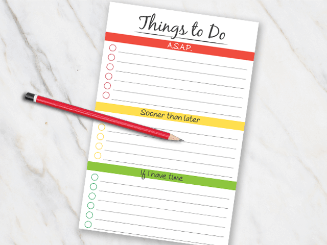 Printable action plan with red yellow and green colors