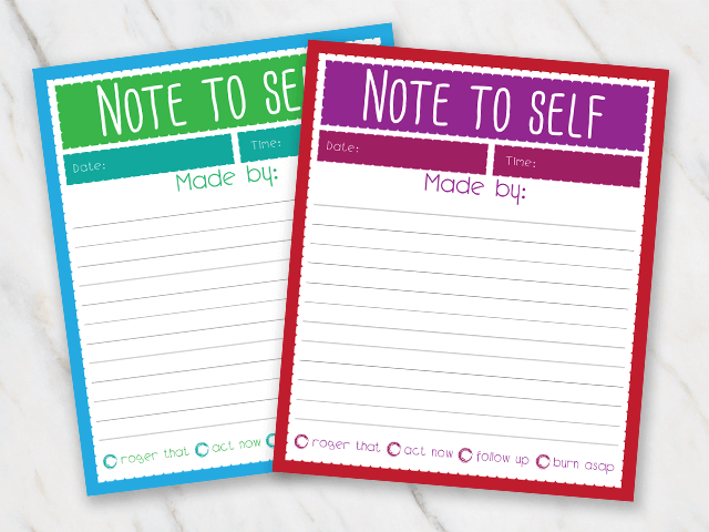 Printable action plan comes in two different designs - green and blue and purple and red