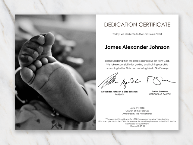Dedication certificate template for baby with image of African American babyfeet