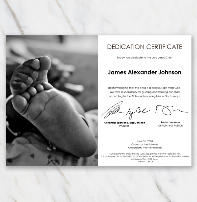 Baby dedication certificate template with african american babyfeet