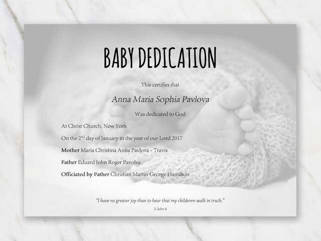 baby dedication certificate template for word free printable