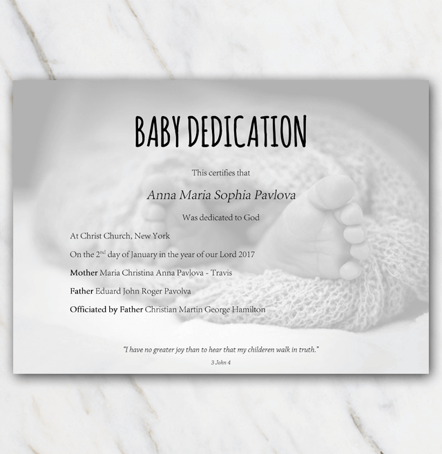 Dedication Certificate Babyfeet In Blanket Template  Baby Dedication Certificates Templates