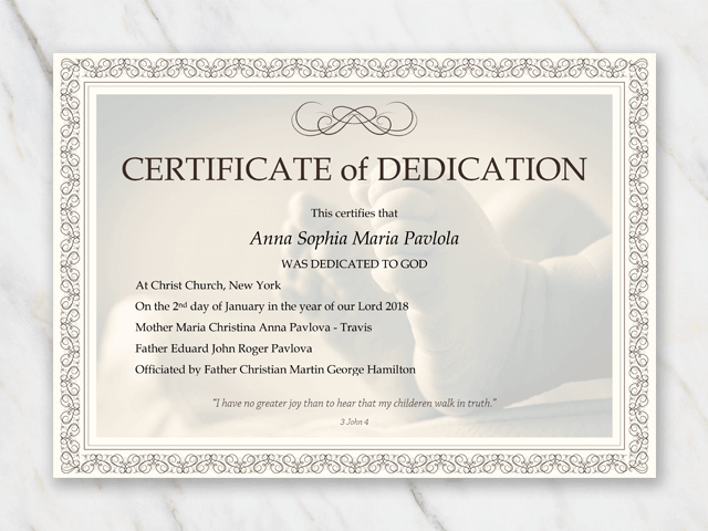 Dedication certificate template for baby with babyfeet and frame