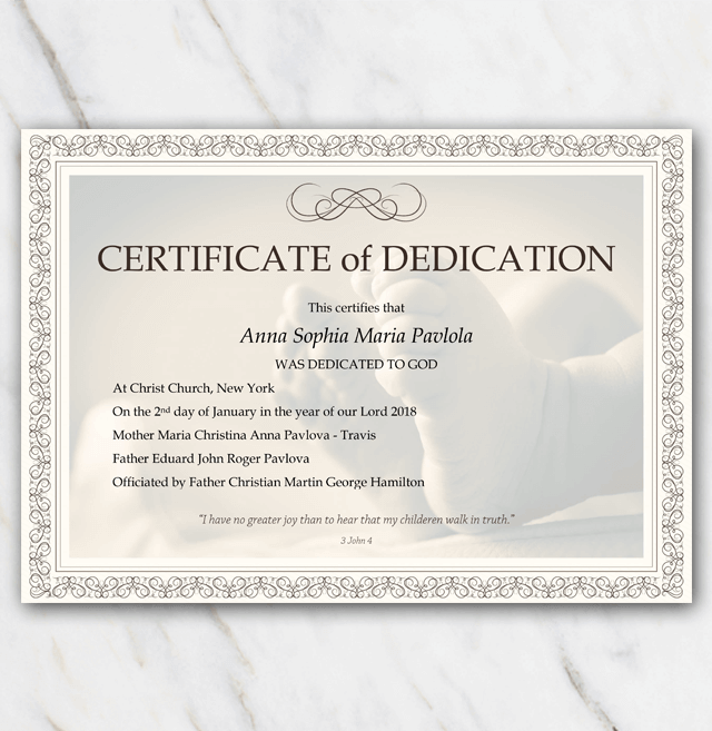 Baby dedication certificate example with background of babyfeet and frame