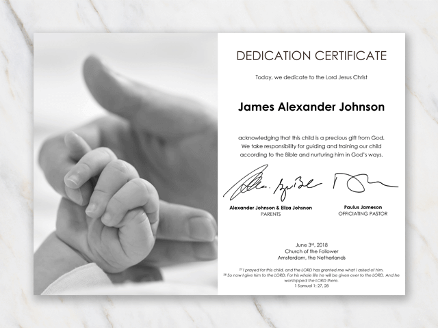 baby dedication certificate template hand with split image - Baby Christening Certificate Template