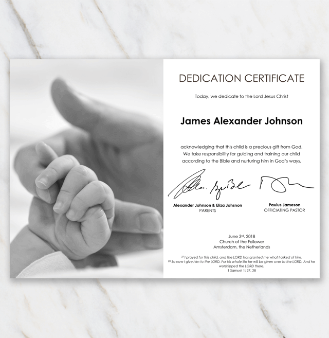 Baby dedication certificate in black and white with picture of mommy holding a babys hand