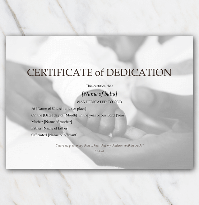 Baby dedication certificate template with baby and mommy hands in black and white