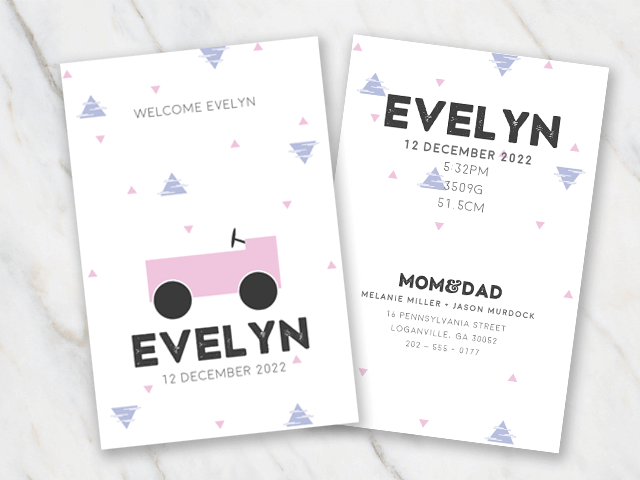Birth announcement template for girl with a car