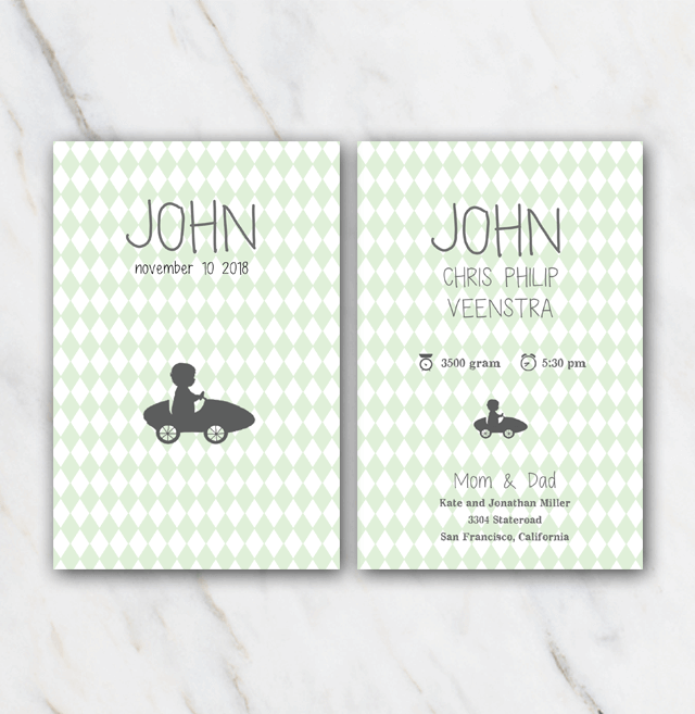Vintage automobile birth announcement template for boy