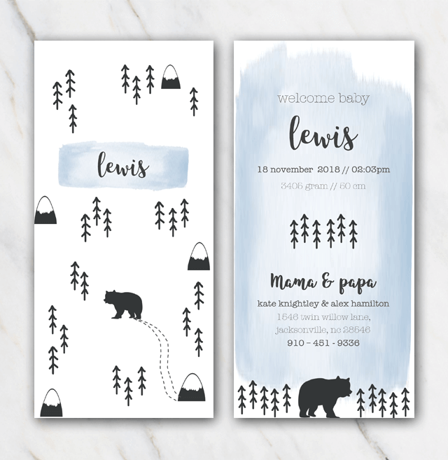 Mountain and bear birth announcement template for boy Temploola – Baby Boy Birth Announcements Templates