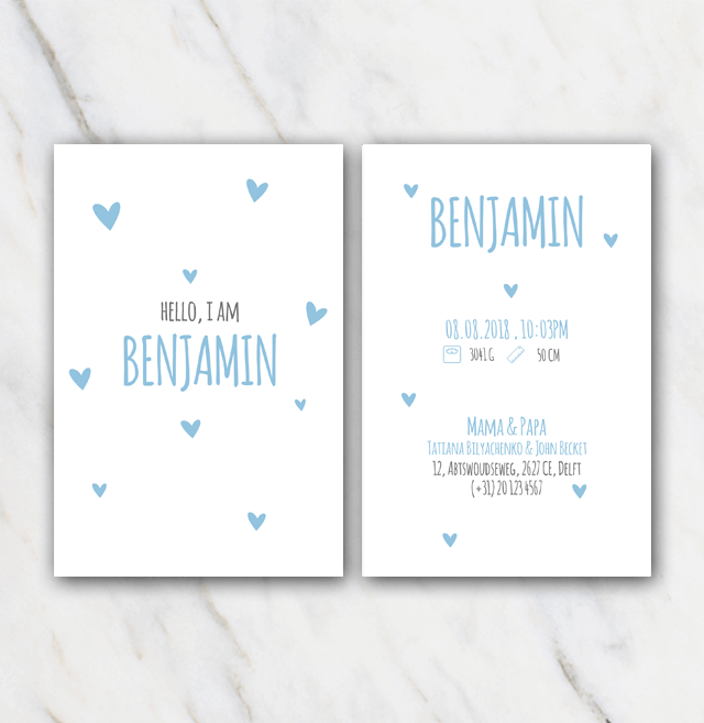 Blue hearts birth announcement template for boy
