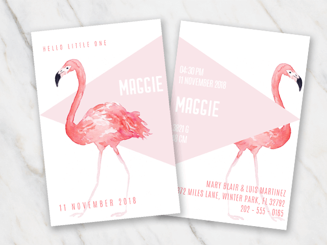 free birth announcement for Word with a flamingo