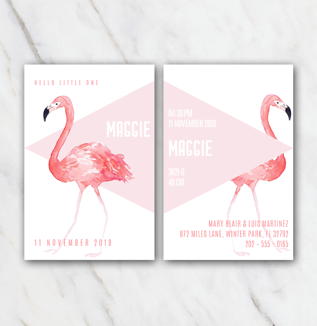 Pink flamingo birth announcement template for girl temploola pink flamingo birth announcement template for girl pronofoot35fo Images