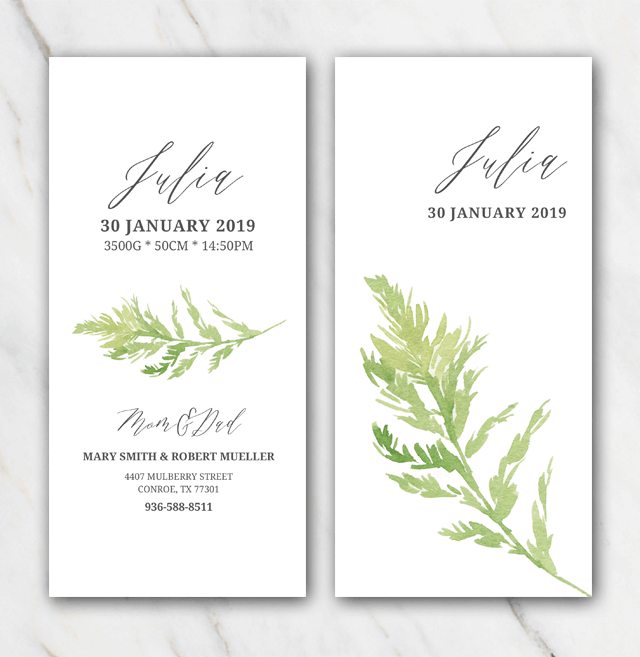 Green leaf birth announcement template