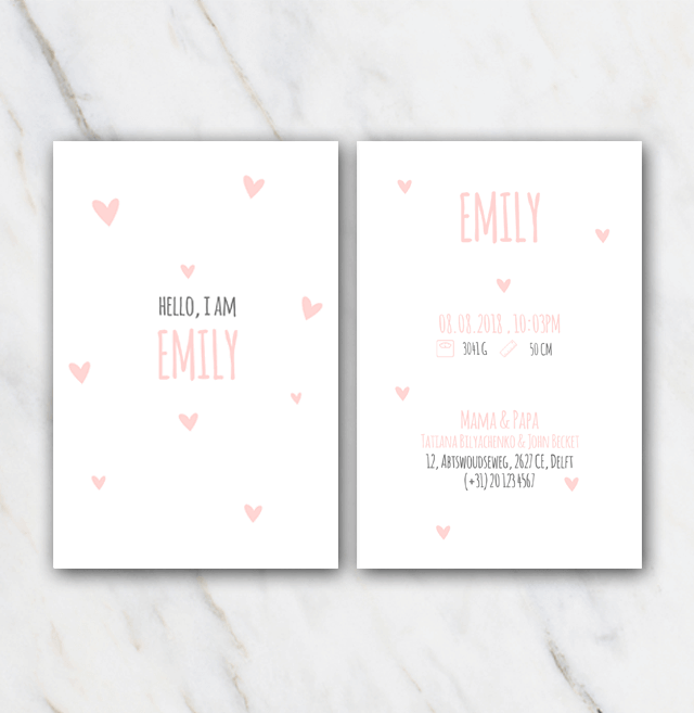 Birth announcement template with pink hearts in Word for FREE