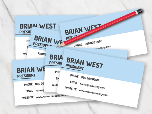 Business card template with light blue and white colors