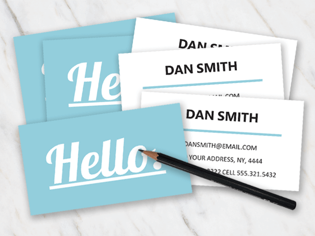 Two sided business card with lightblue at the front and white at the back