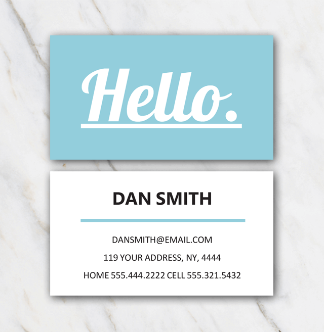 Dan Smith business card template two sided with light blue and white
