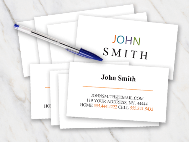 Business card with clean format and different colors