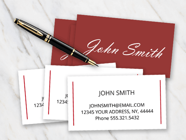 John Smith business card example with burgundy red